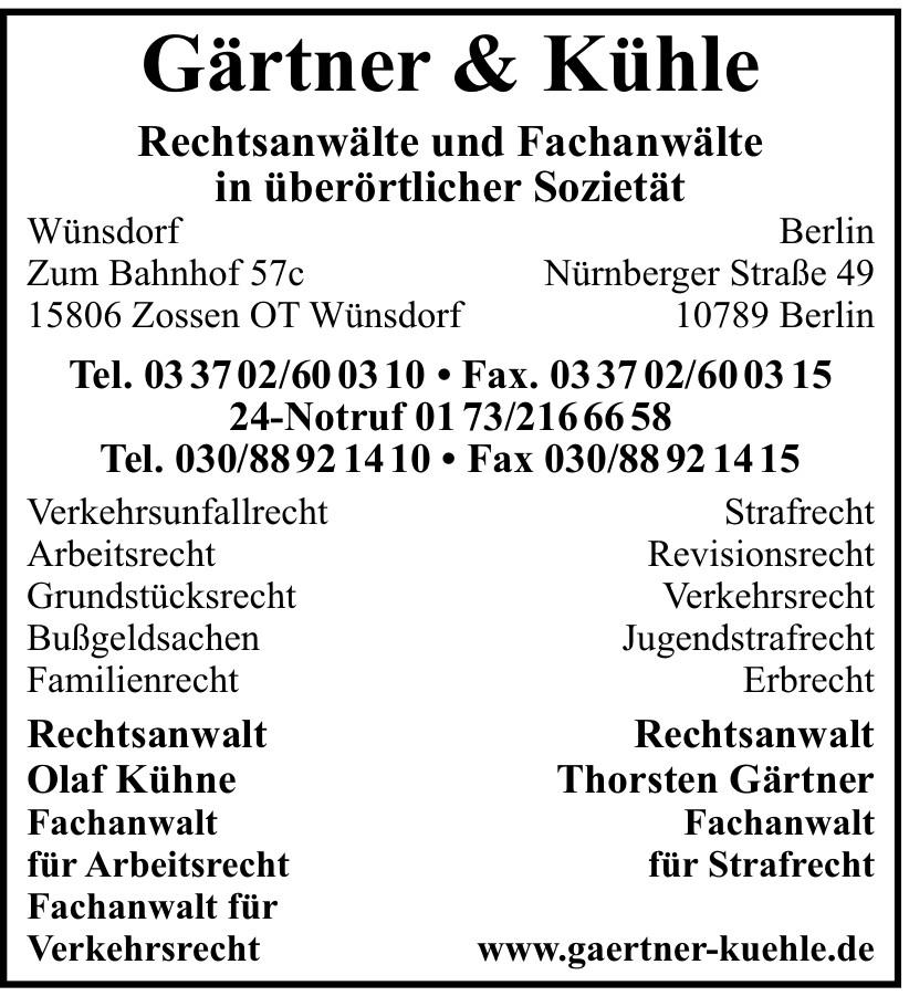Gärtner & Kühle Rechtsanwälte und Fachanwälte in überörtlicher Sozietät