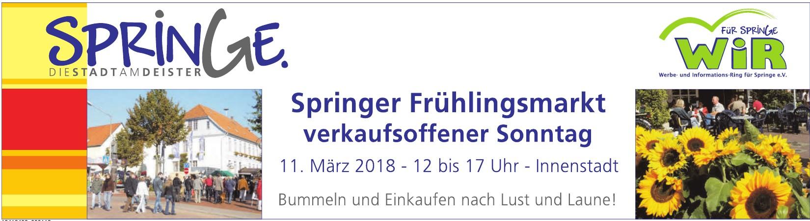 Springer Frühlingsmarkt verkaufsoffener Sonntag