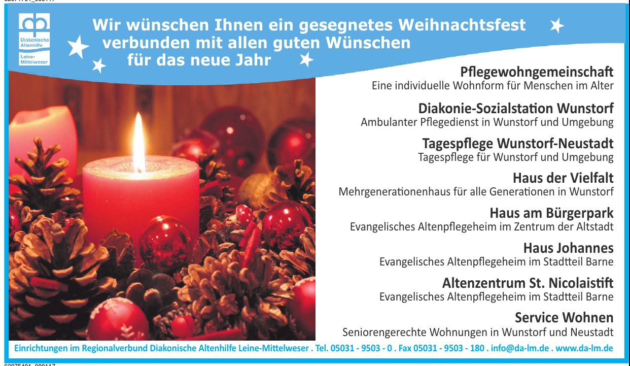 Einrichtungen im Regionalverbund Diakonische Altenhilfe Leine-Mittelweser