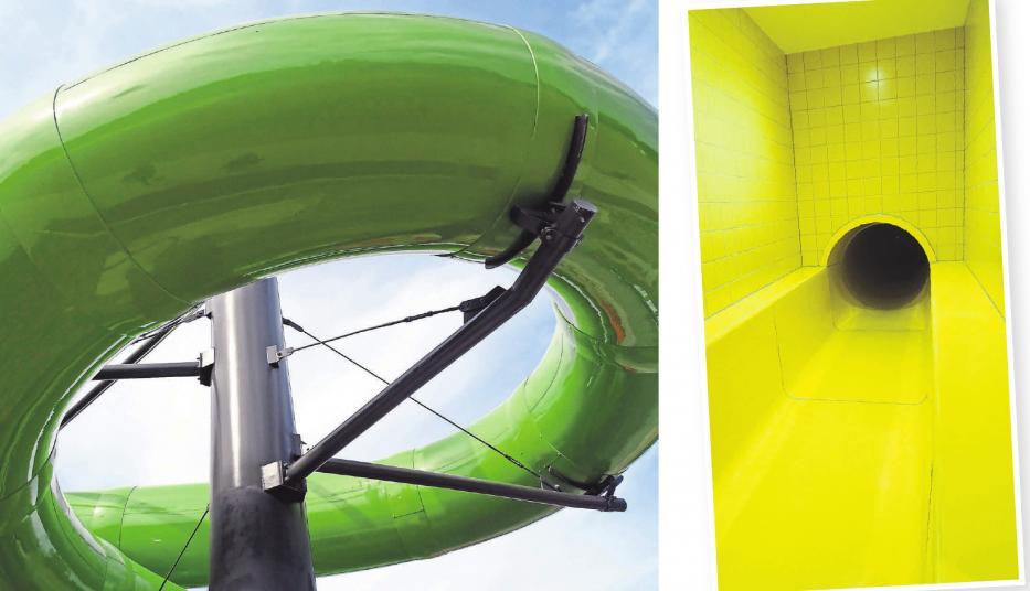 Der Ankunftsbereich der Grünen Mamba ist in gelben Faben gestaltet.