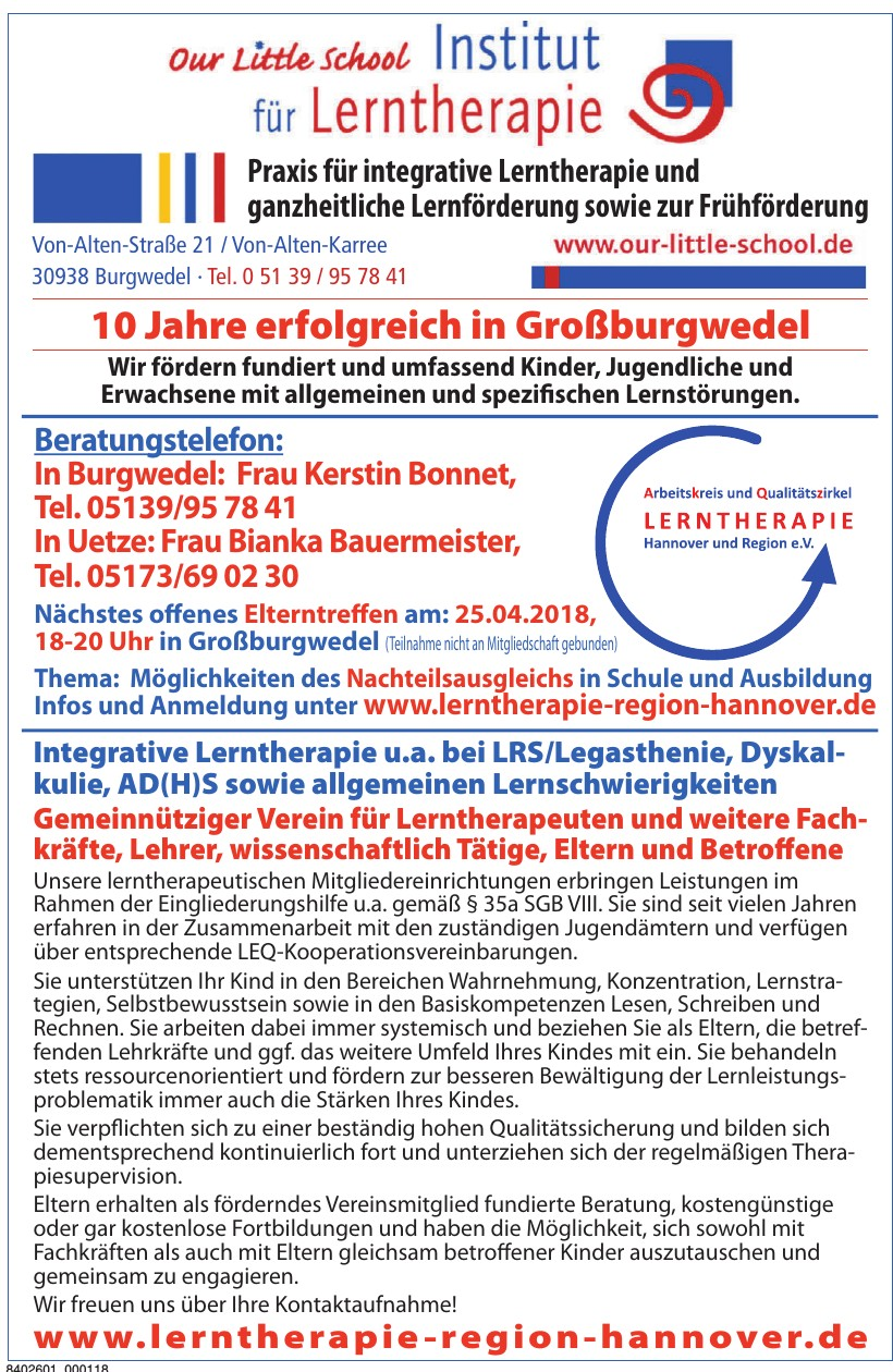 Lerntherapie Region Hannover